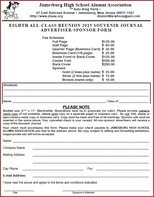 View/Download the 2015 Ad/Souvenir Reservation Form HERE